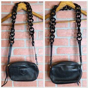 No 21 Numero Ventuno black leather camera bag